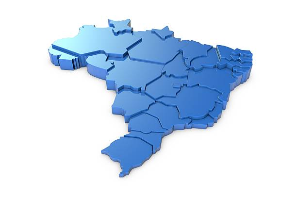 3D map of Brazil with regions – Foto