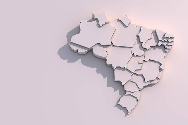 3D map of Brazil with regions - foto de acervo