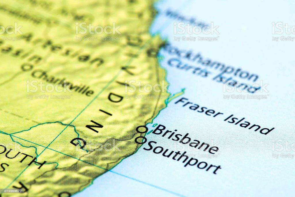 Map of Brisbane, Southport in Australia stock photo