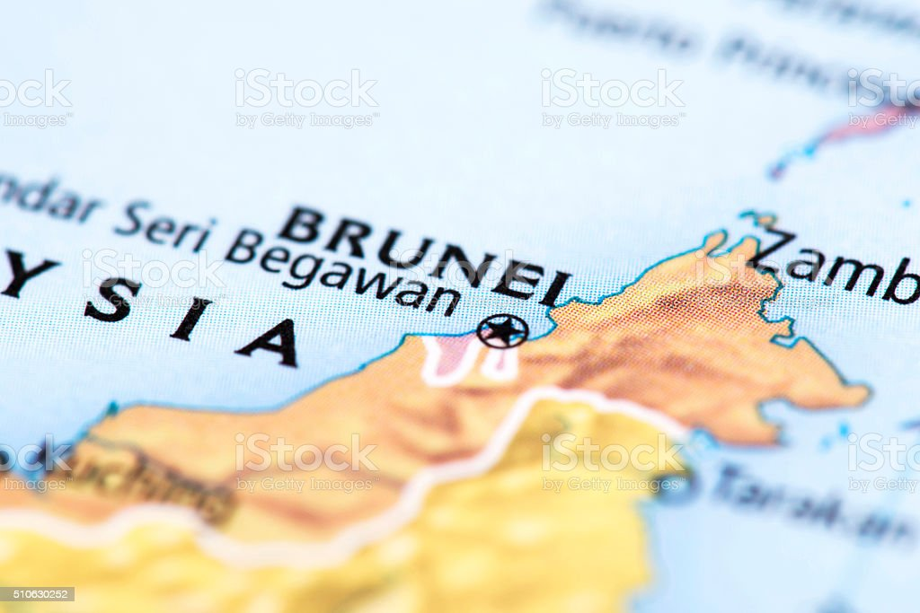 Map of Brunei stock photo