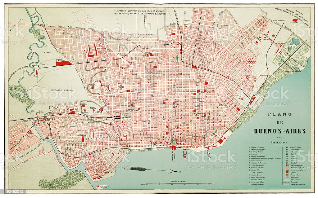 Map of Buenos Aires 1888 stock photo