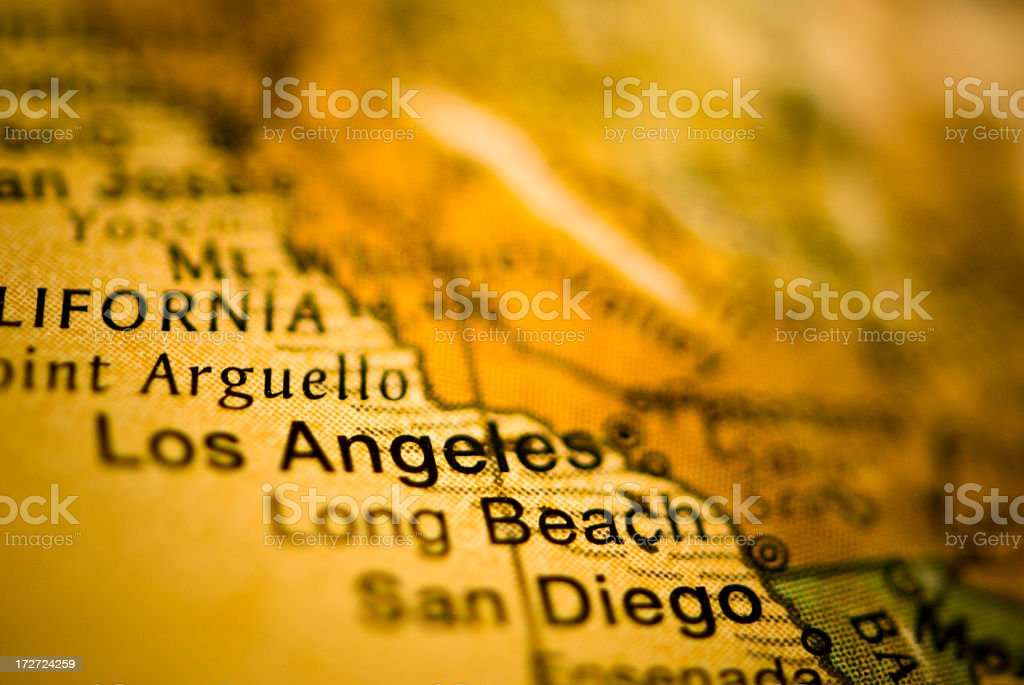 A map of California showing Los Angeles royalty-free stock photo
