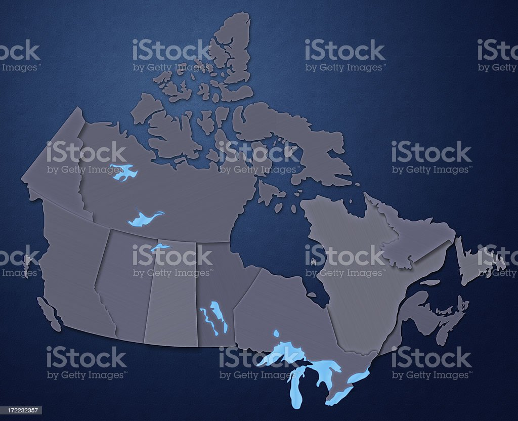 Map of Canada (Steel Blue) stock photo