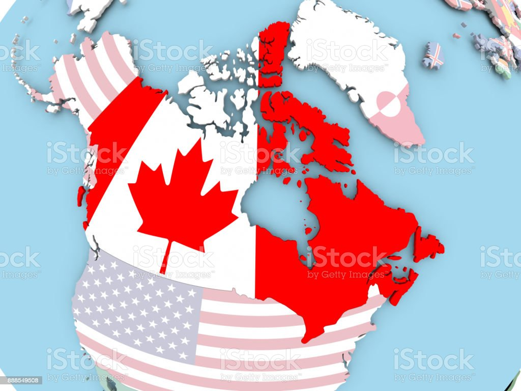 Map Of Canada On Globe.Map Of Canada With Flag On Globe Stock Photo Download Image Now