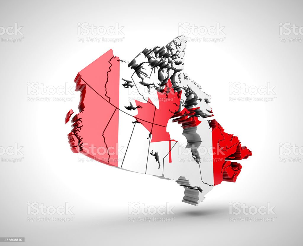 Map of Canada with flag. stock photo