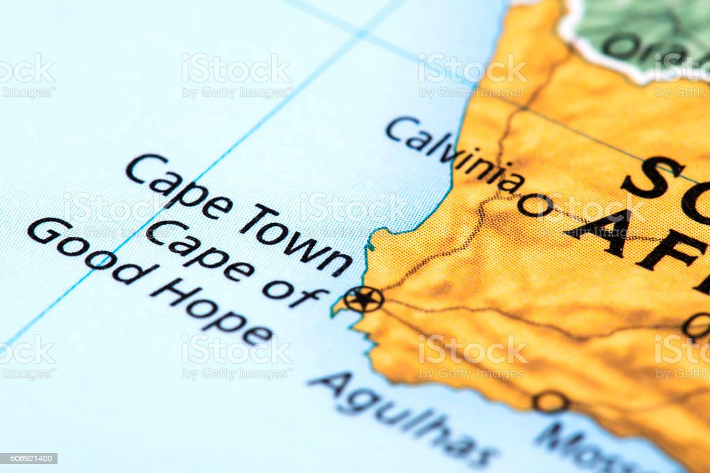 Map of Cape Town, South Africa stock photo