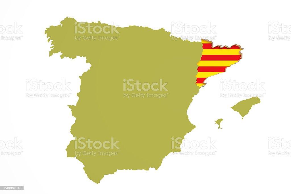 Spanien Katalonien Karte.Karte Von Katalonien Und Flagge Stockfoto Und Mehr Bilder Von