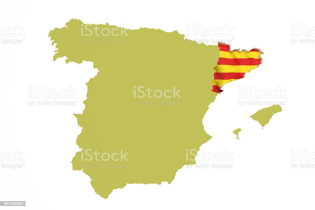 Map of Catalonia and flag stock photo
