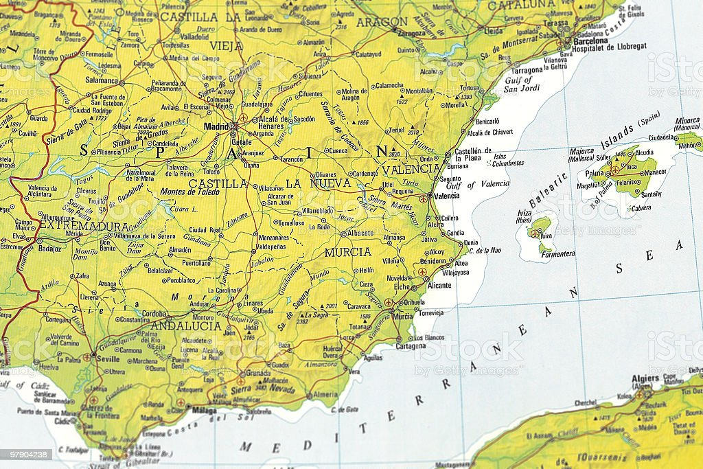 Map of cental Spain royalty-free stock photo