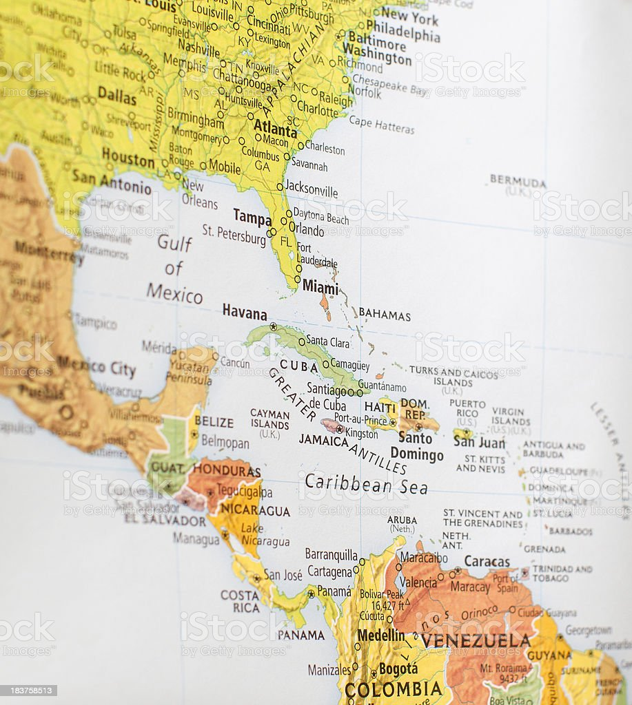 Map Of Central America Stock Photo More Pictures of Caribbean Sea