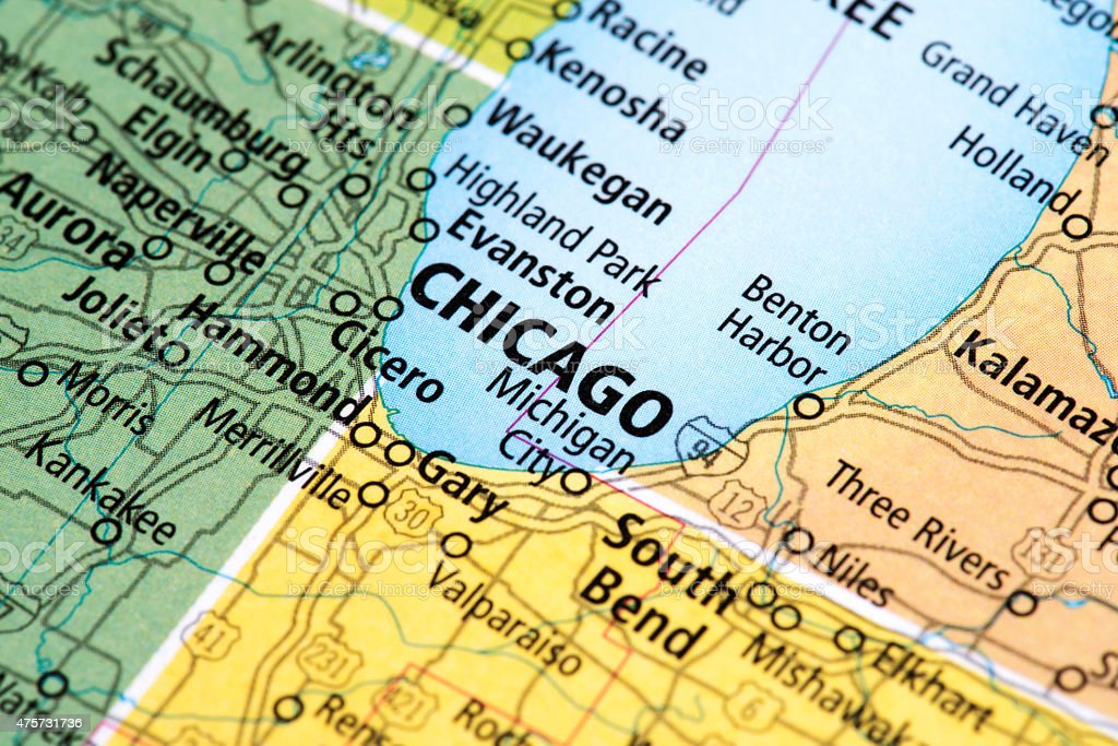Map Of Chicago Illinois State In Usa Stock Photo & More Pictures of ...