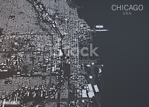 istock Map of Chicago, satellite view, city, Usa 686543824