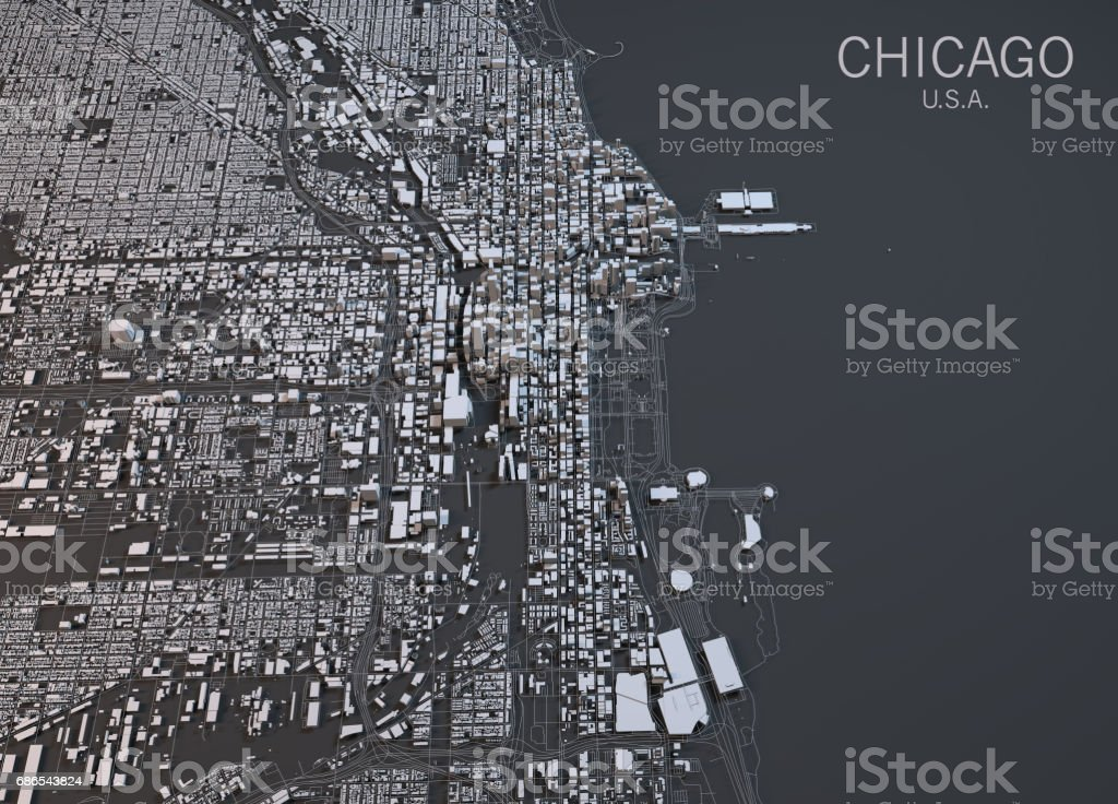 Map of Chicago, satellite view, city, Usa stock photo