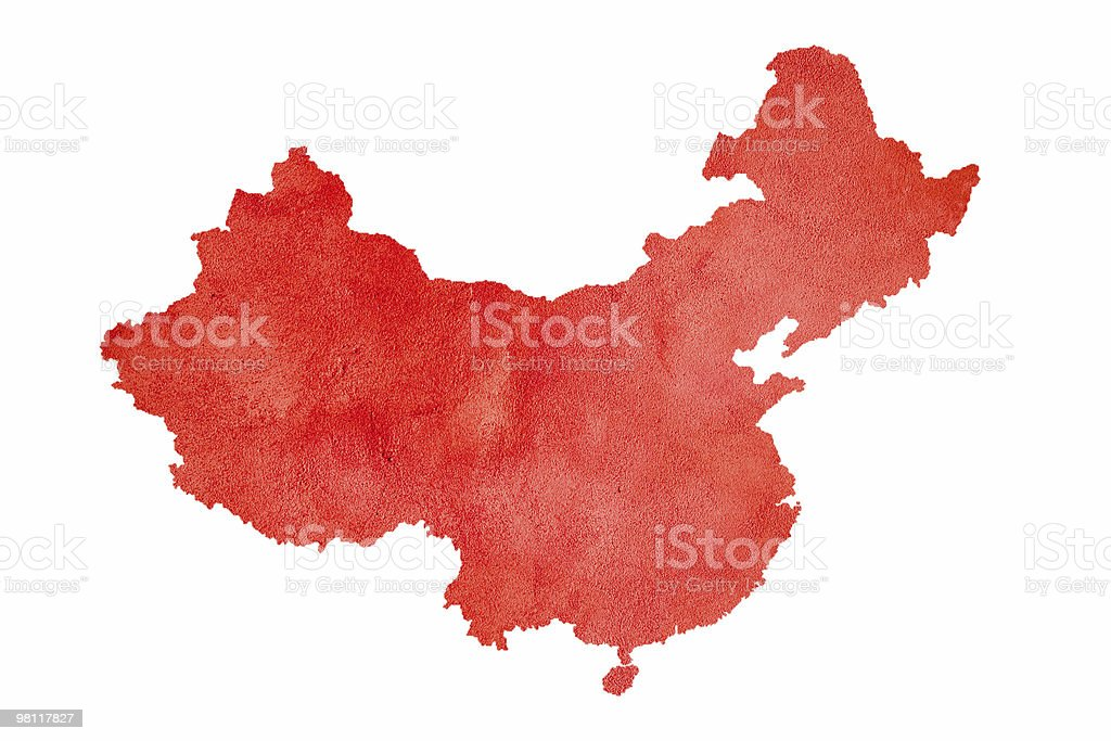 Map of China isolated on white royalty-free stock photo