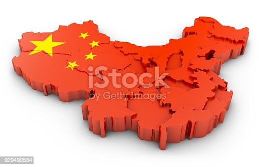 istock 3D map of China 929490534