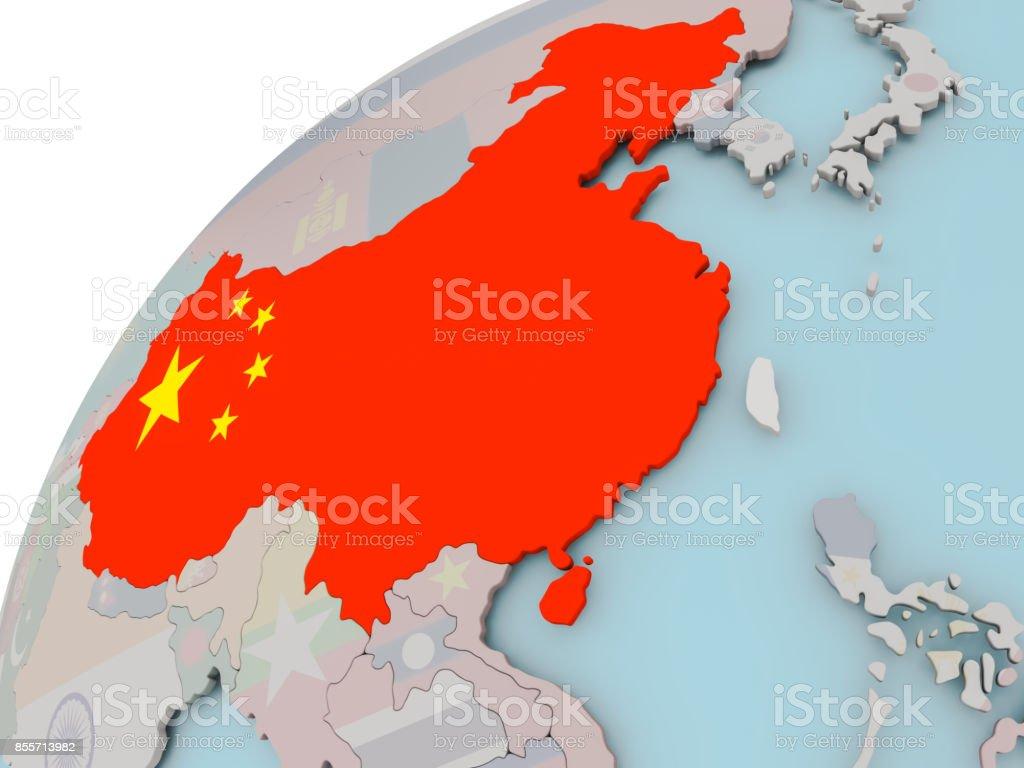 Karte von China mit Flagge – Foto