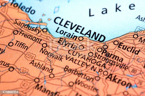 Map Of Cleveland In Ohio State Usa Stock Photo IStock - Usa map cleveland