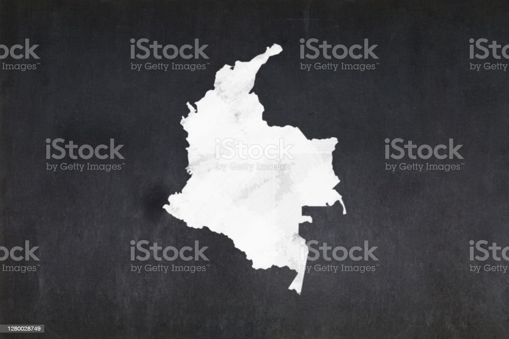 Map of Colombia drawn on a blackboard Blackboard with a the map of Colombia drawn in the middle. Backgrounds Stock Photo