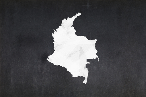 Map Of Colombia Drawn On A Blackboard Stock Photo - Download Image Now