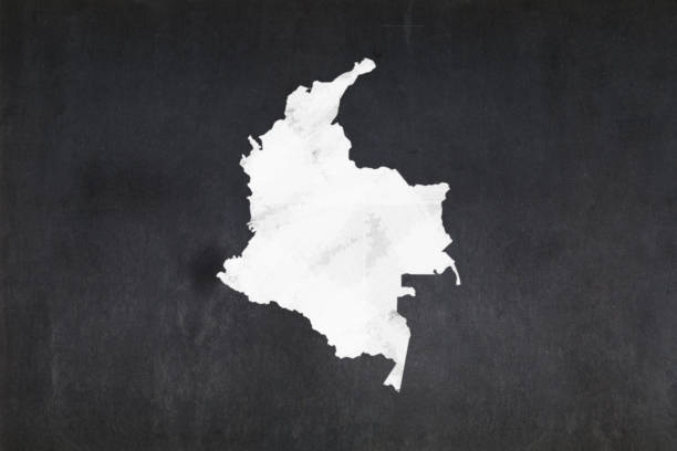 Map of Colombia drawn on a blackboard stock photo