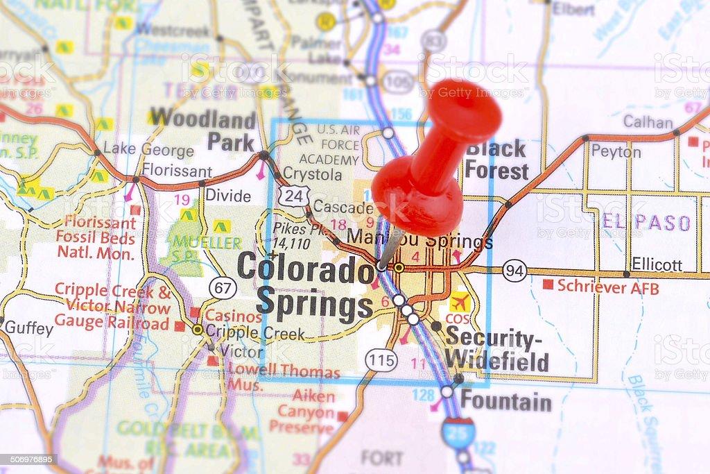 Map of Colorado Springs stock photo