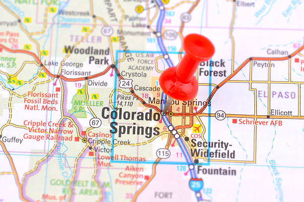 Map of Colorado Springs stock photo