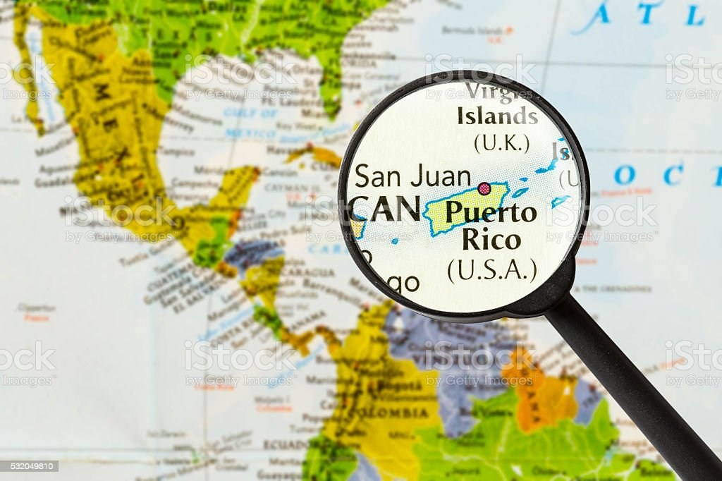 map of Commonwealth of Puerto Rico stock photo