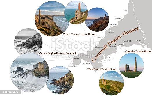 Map of Cornwall, featuring photographic images of Cornish Engine Houses, including, Coombe, Wheal Prosper, Botallack, Wheal Coates, and key towns in Cornwall marked on map.