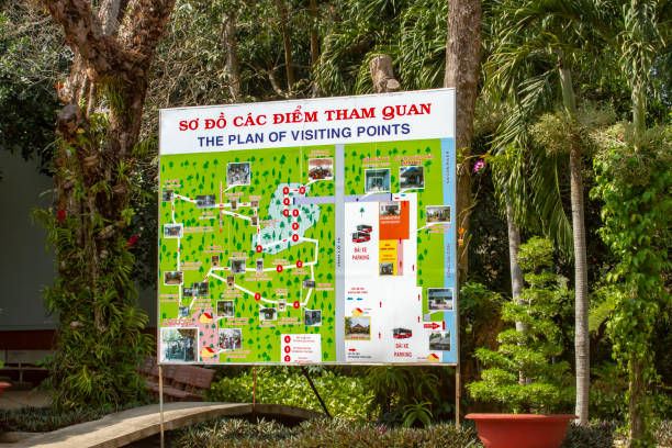 Map of Cu Chi Tunnels along Saigon River in Vietnam Cu Chi, Vietnam - March 10, 2019:  Map of Viet Cong Cu Chi Tunnels site on Saigon River, Vietnam. viet cong stock pictures, royalty-free photos & images
