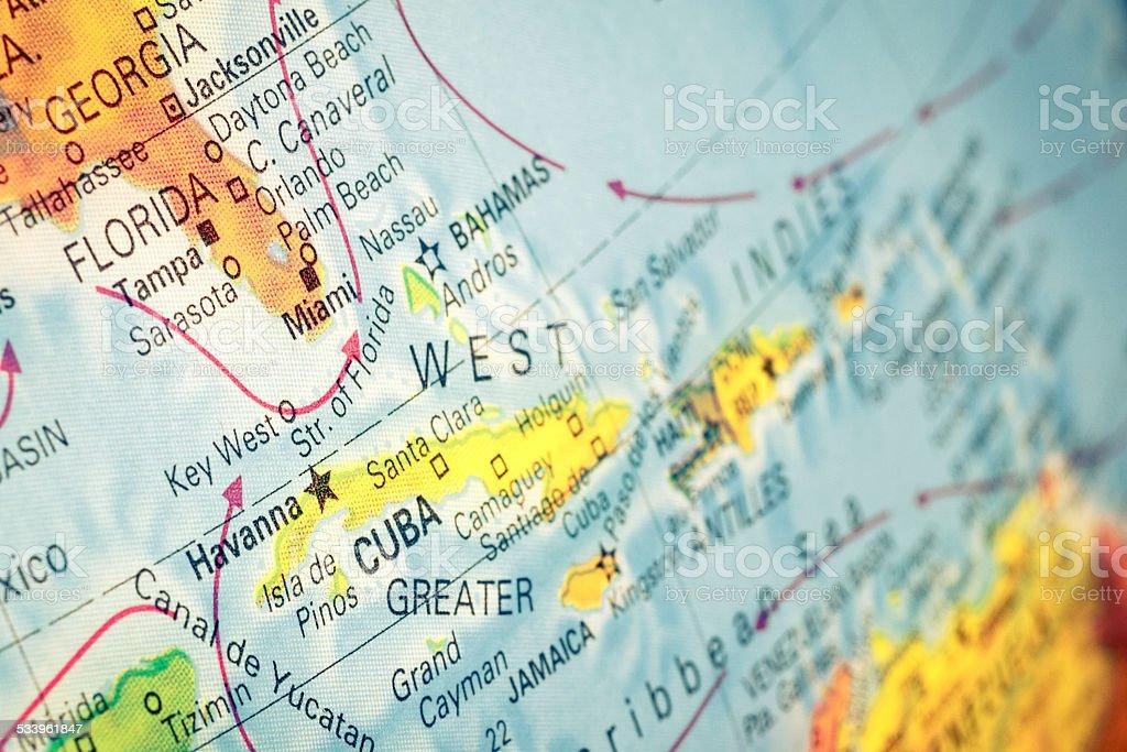 map of Cuba and Florida. macro image stock photo