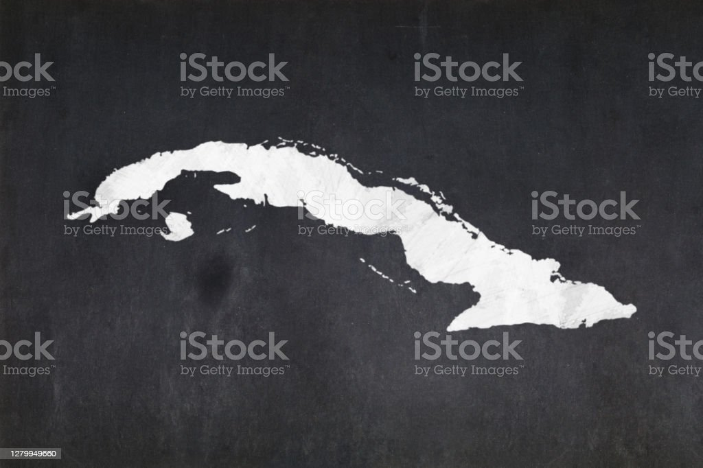 Map of Cuba drawn on a blackboard Blackboard with a the map of Cuba drawn in the middle. Backgrounds Stock Photo