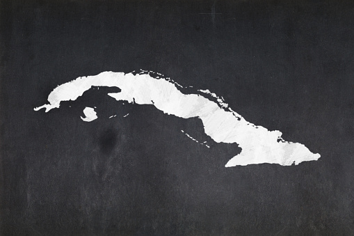 Map Of Cuba Drawn On A Blackboard Stock Photo - Download Image Now