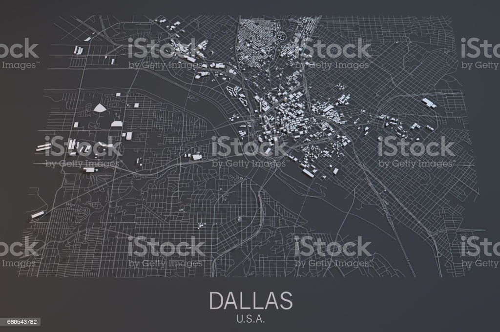 Map of Dallas, satellite view, city, Usa foto stock royalty-free