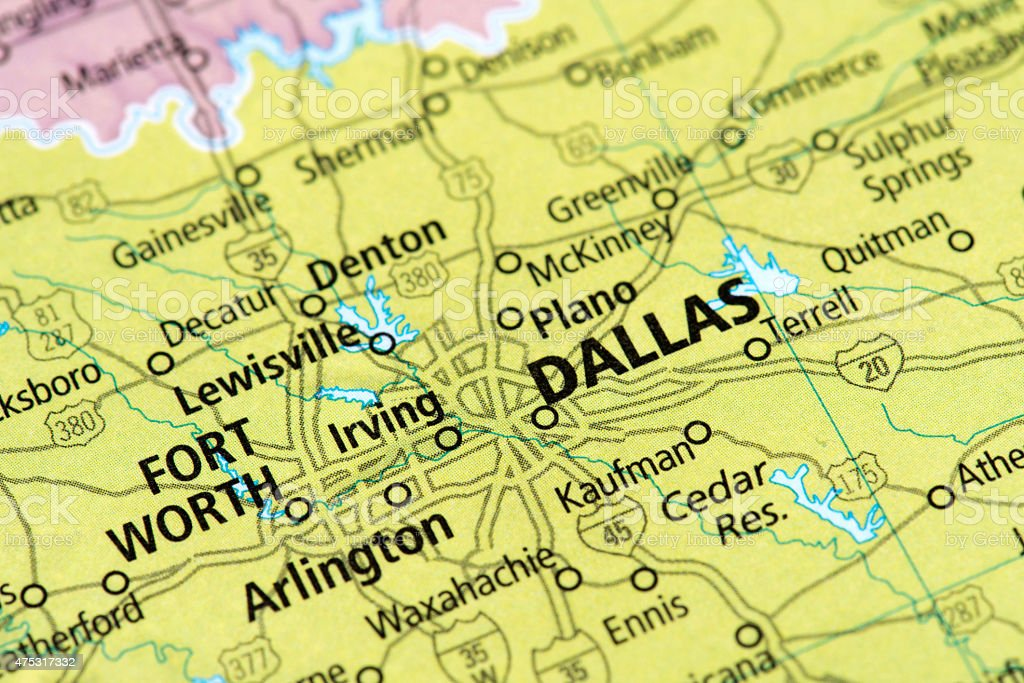 Map of Dallas, Texas State in US stock photo