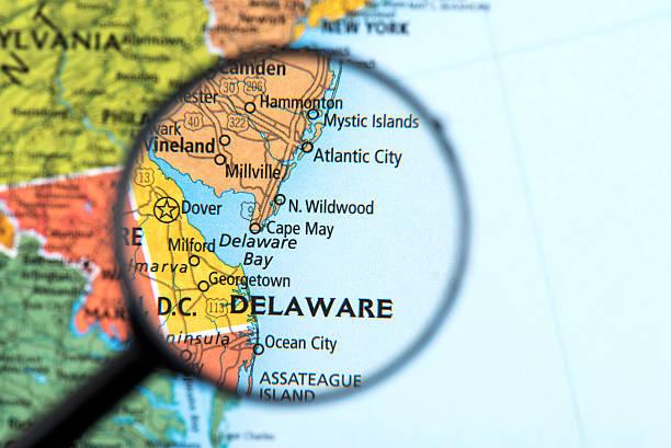 karte von delaware - karten de stock-fotos und bilder
