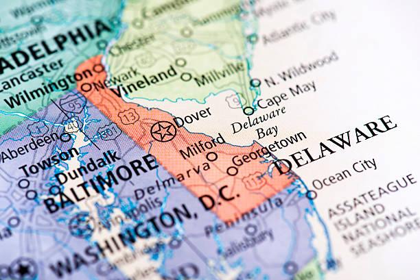 karte von delaware state - karten de stock-fotos und bilder