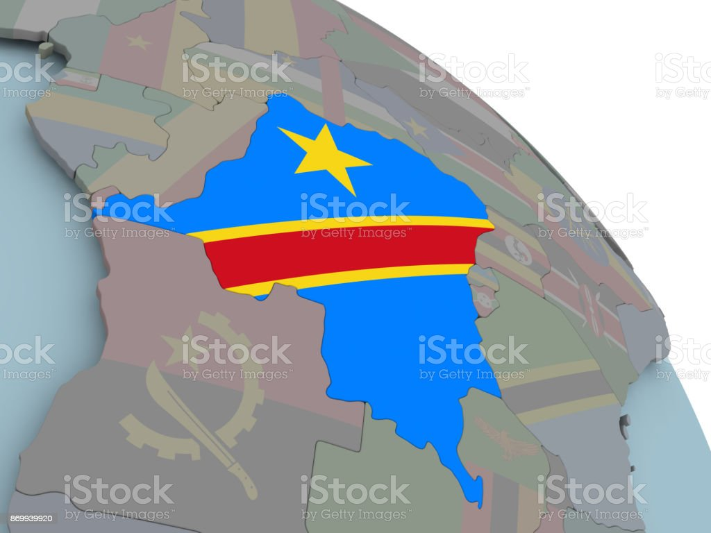 Map of Democratic Republic of Congo with flag stock photo