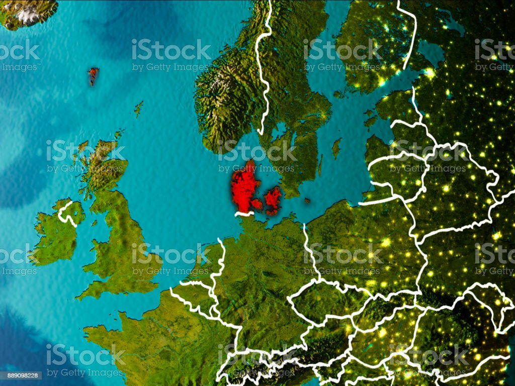 Map of Denmark on Earth stock photo