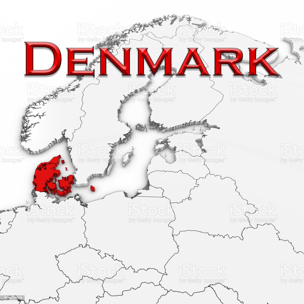 3d map of denmark with country name highlighted red on white 3d map of denmark with country name highlighted red on white background 3d illustration royalty gumiabroncs Choice Image