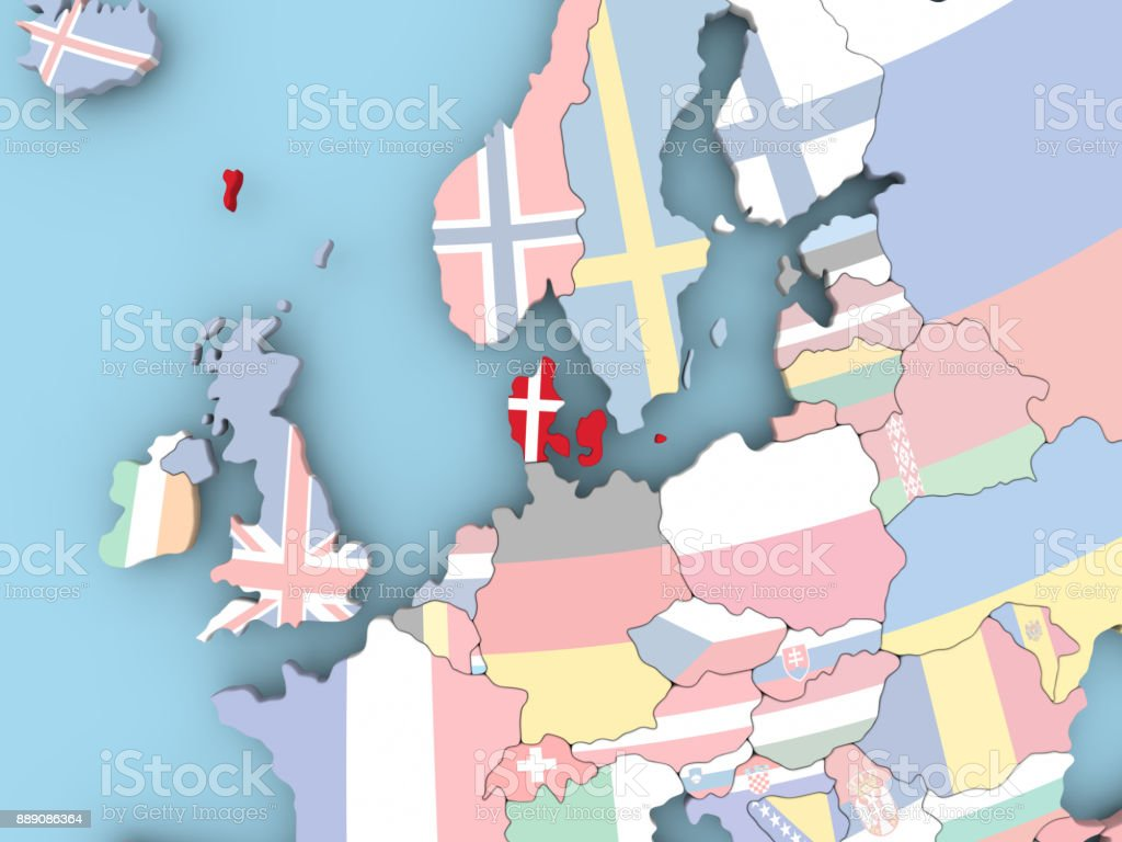 Map of Denmark with flag on globe stock photo