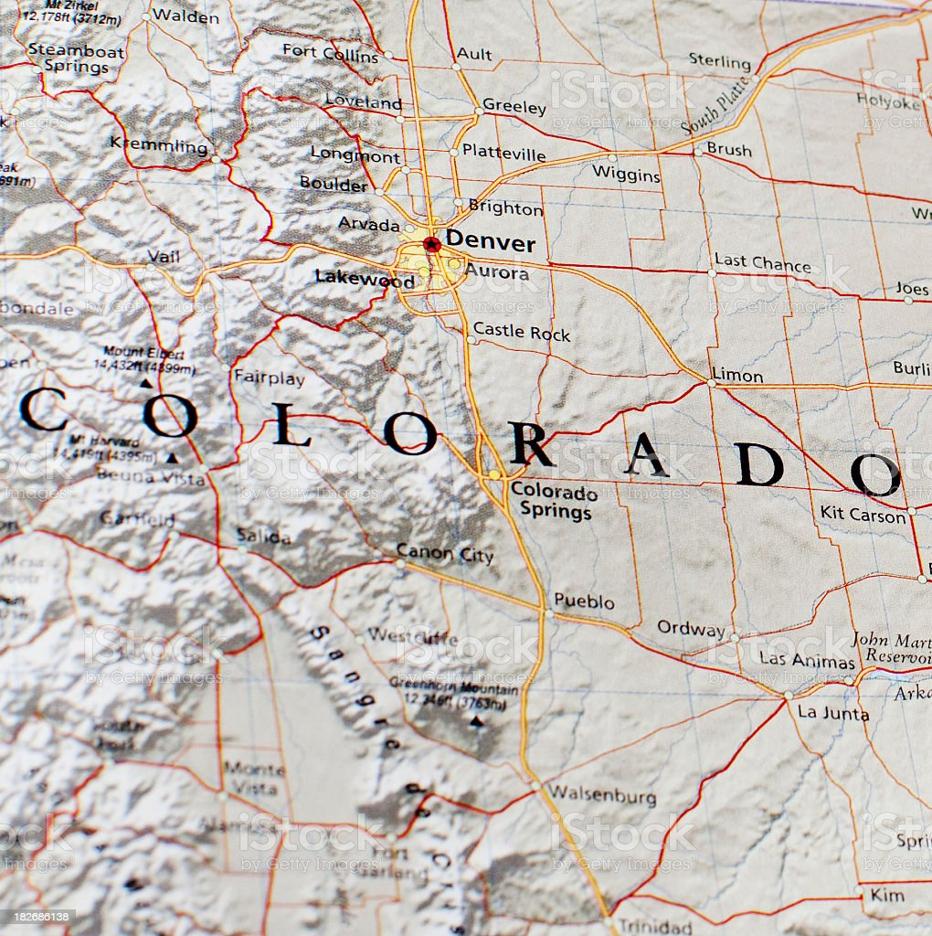 Denver Map: Map Of Denver Area Stock Photo & More Pictures Of Aurora
