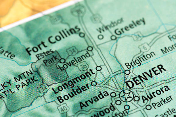 Map of Denver in Colorado State, USA stock photo