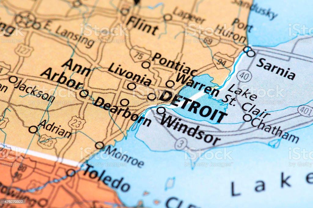 Fotografía de Mapa De Estado Detroid En Michigan Eeuu y más banco de ...