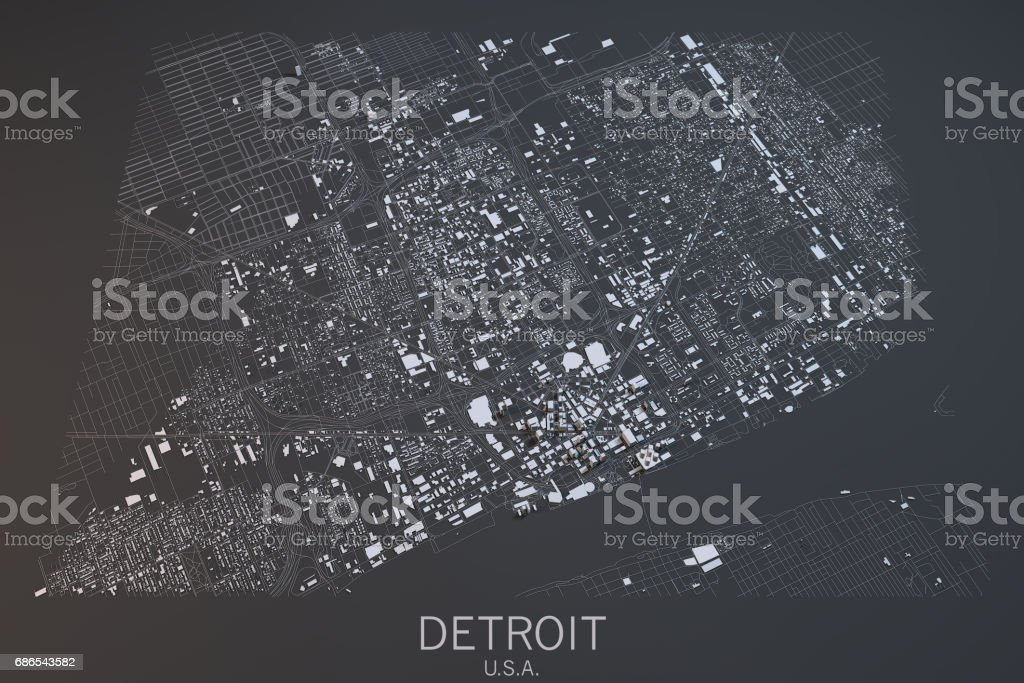 Map of Detroit satellite view, city, Usa foto stock royalty-free