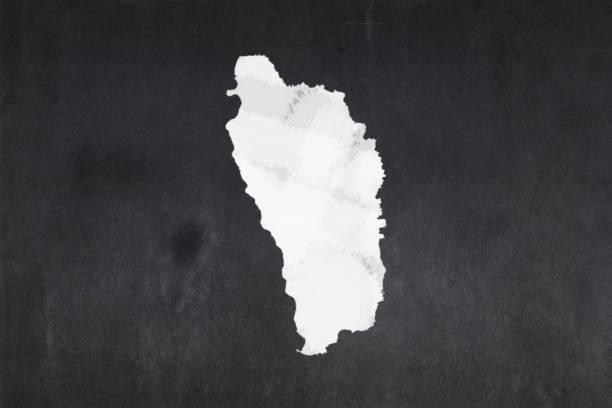 Map of Dominica drawn on a blackboard stock photo
