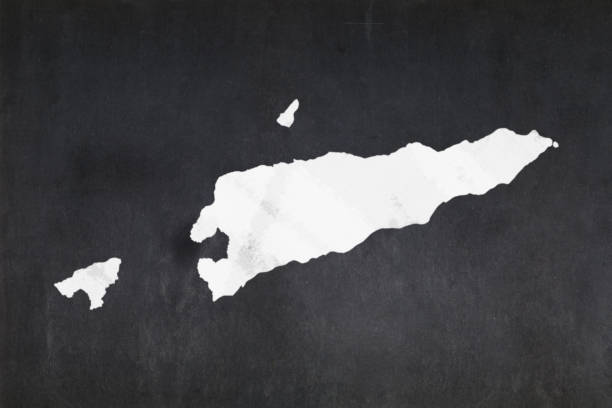 Map of East Timor drawn on a blackboard stock photo