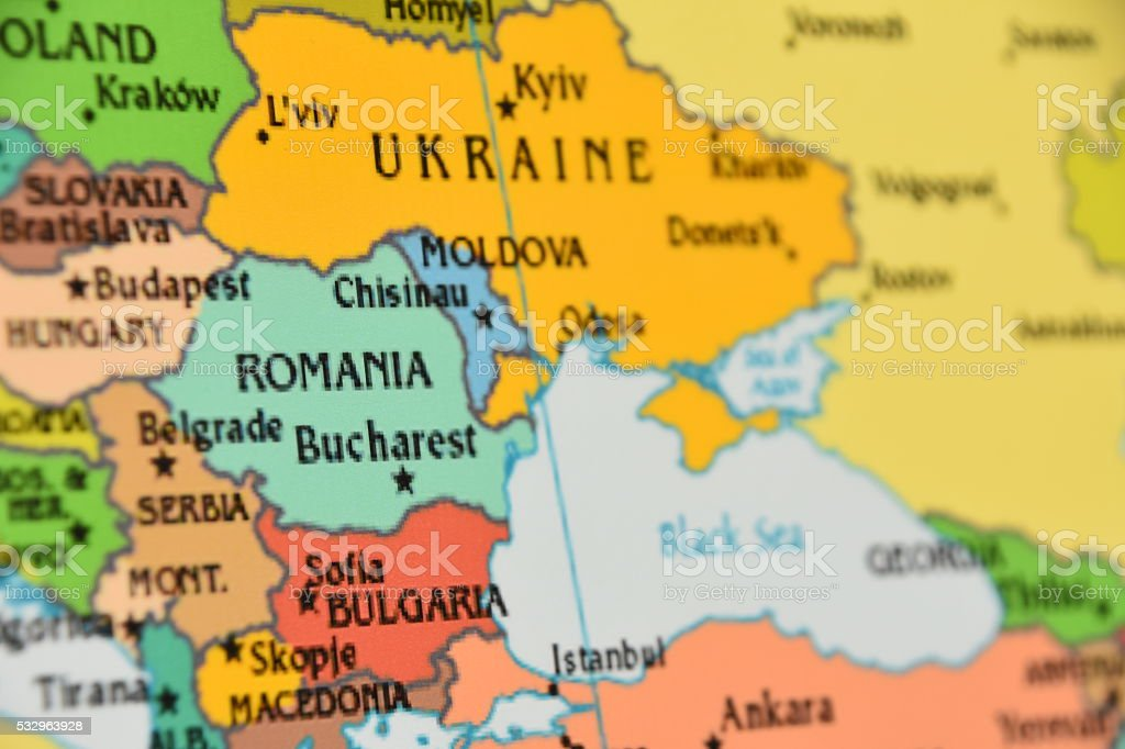 Map of Eastern Europe stock photo