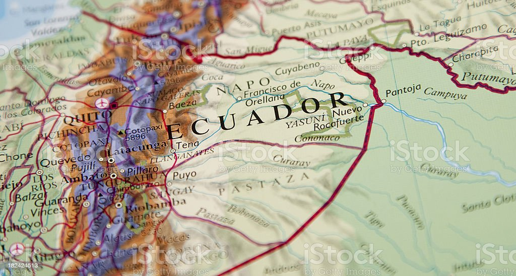 map of ecuador area stock photo