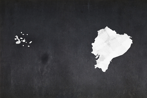 Map Of Ecuador Drawn On A Blackboard Stock Photo - Download Image Now