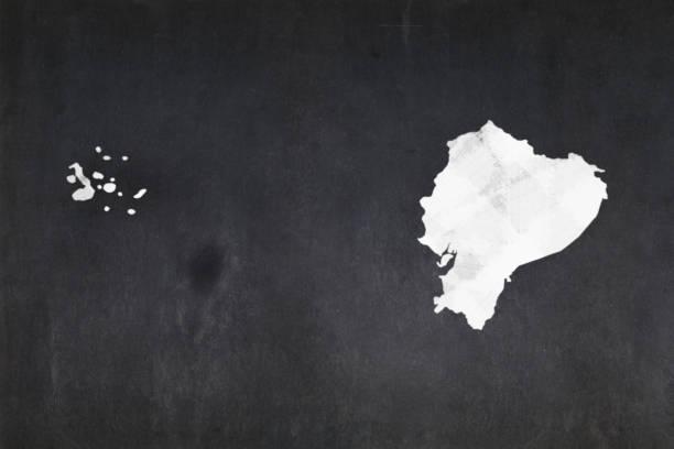 Map of Ecuador drawn on a blackboard stock photo